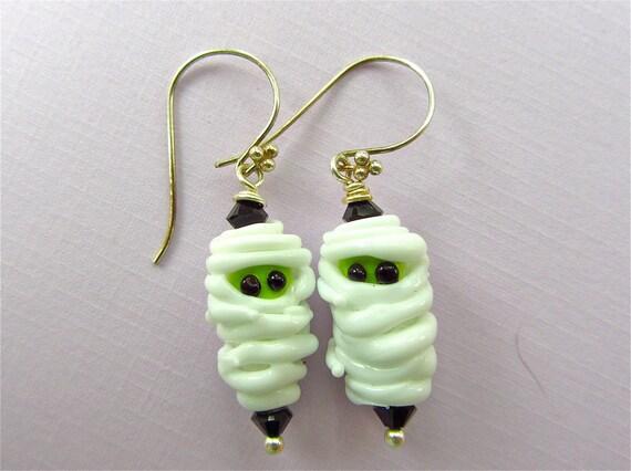 Mummy Lampwork Bead Art Earrings