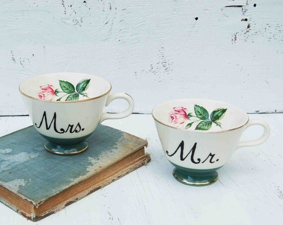 Mr. and Mrs. Hand Painted Vintage ROSE TEA CUPS Wedding Bride Groom