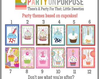 Cupcake Birthday Party Banner and Cupcake Toppers Fully Assembled Decorations