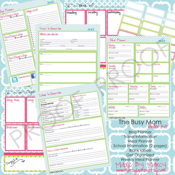 Items similar to The Busy Mom Organizational Family Binder ...