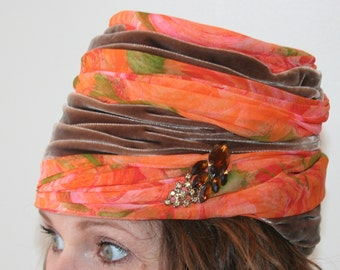 Vintage Turban Hat - Orange and Pink Chiffon Swirl - Big Fancy Hat - Turban Style Hat - Fancy Lady - 1950s Hat Accessory - Hollywood Glam