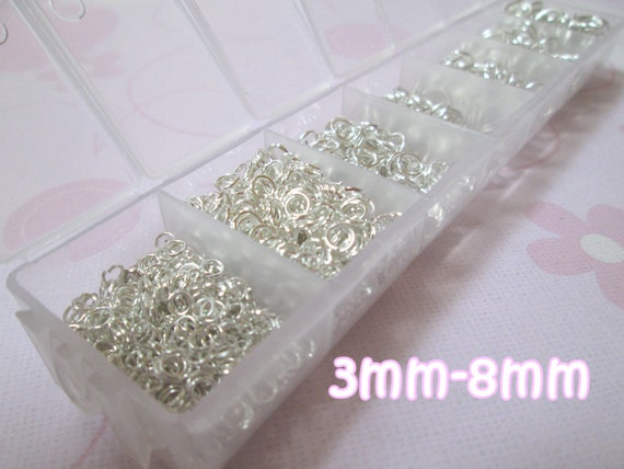 1 Box Mixed Silver Plated Open Jump Rings 3-8mm Jewelry Findings assorted wholesale