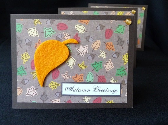 Fall Set of 3 Autumn Greetings
