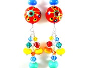 Colorful Glass Earrings, Beadwork Earrings, Red Abstract Earrings, Lampwork Earrings, Long Dangle Earrings, Unique Earrings - Crayon Box