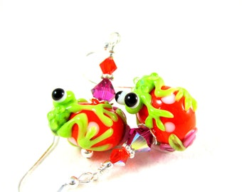 Green Frog Dangle Earrings, Green Orange Pink Lampwork Glass Earrings, Whimsical Jewelry, Funny Earrings, Animal Earrings, Frog Jewelry -