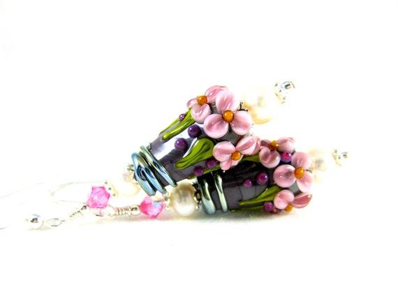 Pink Purple Floral Earrings, Flower Earrings, Nature Earrings, Lampwork Earrings, Pearl Earrings, Glass Earrings, Cottage Chic Lush & Lovely