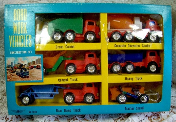 Vintage Collectible Construction Set - Road Work Vehicles - In Box 1950's
