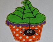 """Embroidered Iron On Applique """"Halloween Cupcake"""""""