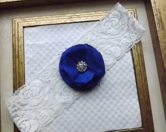 Wedding Garter - Vintage Royal Blue Wedding Garter - White Lace Garter - Something Blue Garter - Bella