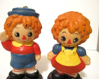 Vintage Raggedy Ann & Andy Candles Figural Unused - Adorable