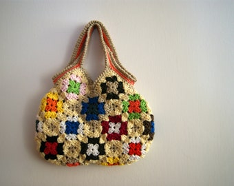 Crochet granny square small bag