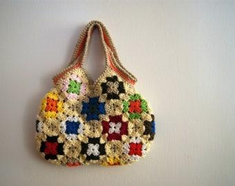 Crochet granny square small bag