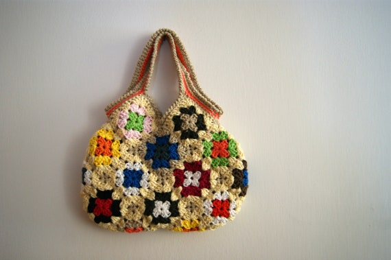 Crochet Small Bag : Crochet granny square small bag by knittingcate on Etsy