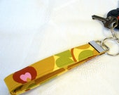 Wristlet Key Fob Amy Butler Fabric Morning Glory Mustard Gold Key Chain Key Ring Fabric Keyring MTO