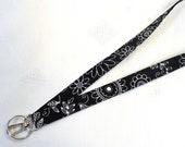 Womens Black White Retro Floral Fabric Lanyard Breakaway Lanyard ID Badge Holder ID Clip Key Ring Fob MTO