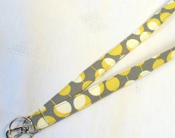 Amy Butler Fabric Lanyard ID Badge Holder Breakaway Lanyard Key Ring Fob Martini Gray Mustard Yellow Midwest Modern MTO
