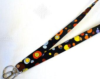 Fabric Lanyard ID Badge Holder Breakaway Lanyard ID Clip Key Ring Fob Luella Doss Bubbles Hot Flash  Black Colorful MTO
