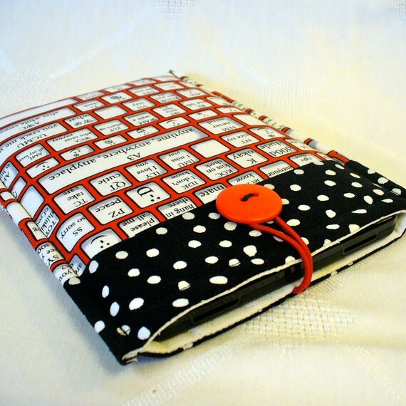 KINDLE Sleeve Kindle Paperwhite Case Kindle Fire Cover Padded Sleeve Texting Shortcuts Keyboard Black White Red  Ready to Ship