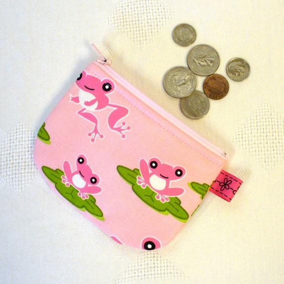 Girls Coin Purse Pink FROGS Mini Change Purse Zipper Pink Green Lily Pads Toyland Robert Kaufman Handmade