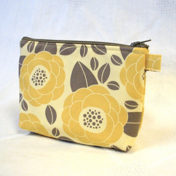 Gadget Pouch Cosmetic Bag Joel Dewberry Fabric Zipper Pouch Makeup Bag Cotton Zip Pouch Bloom Sand Yellow Gray Ginseng Handmade MTO