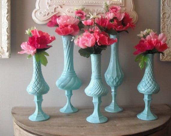 RESERVED for Kendra.......5 upcycled Tiffany Blue Pedestal Vases ... Romantic Shabby chic Aqua ... cottage Wedding