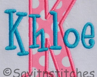 Personalized initial tshirt or bodysuit, A-Z