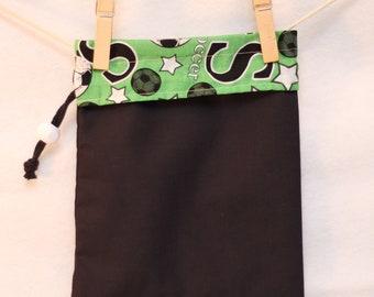 Project Bag, Fabric Gift Bag, Soccer, Black and Green, Small Drawstring Bag