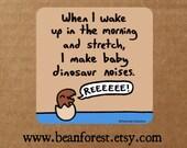 baby dino noises - funny dinosaur sticker laptop decal t rex wake up cute dinosaur decor raptor sleep yawn jurassic park dinosaur fossil