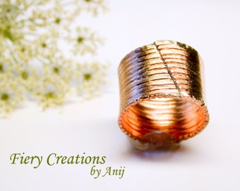 """Cigar Band Ring """"Convergence"""" Hand Fabricated, Engraved Copper Band with chisled edges, OOAK"""