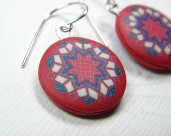 Red Quilt Rounds Millefiori Polymer Clay Earrings