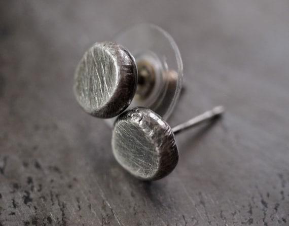Petite, industrial fine silver button disc stud earrings