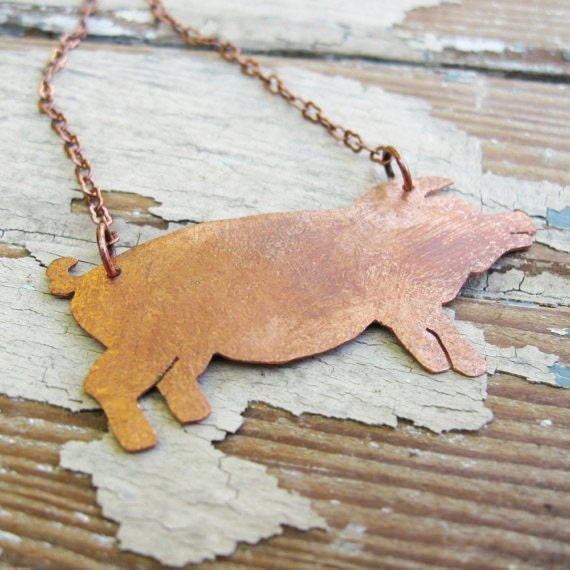 Just a Lil Pig - Handcut Copper Pendant - Artisan Copper Jewelry