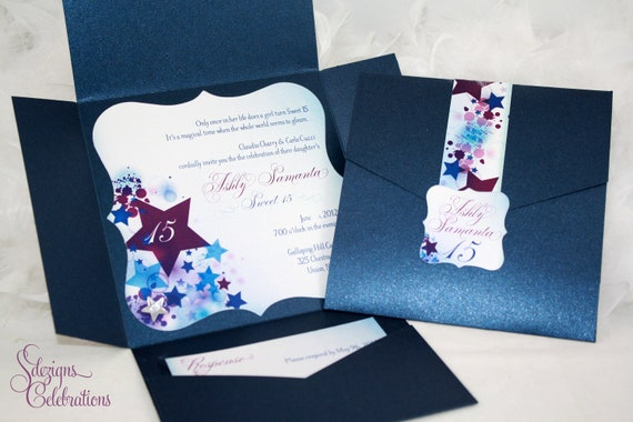 Star Filled Quinceanera or Sweet 16 InvitationsQuinceanera Star Theme Invitations
