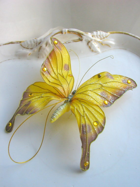 Items Similar To Large Yellow Monarch Butterfly Gold