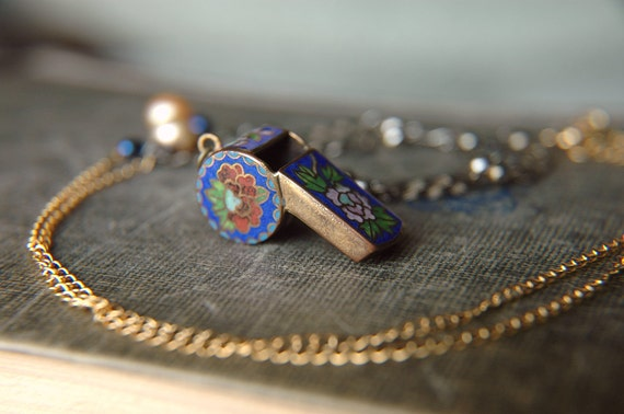 Vintage Cloisonne Chinese Whistle on Gold Plated and Silver Toned Chain - The Blue Whistle.