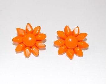 Vintage Mid Century Orange Flower Clip on Earrings