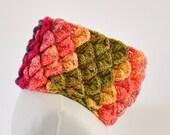 Cowl Scarf Neckwarmer Crochet Crocodile Cowl Pink Green Yellow Purple Colorful Bright Warm Cozy Unisex