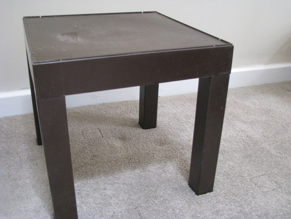 Vintage Square Brown Plastic Parson Small End Table Cube
