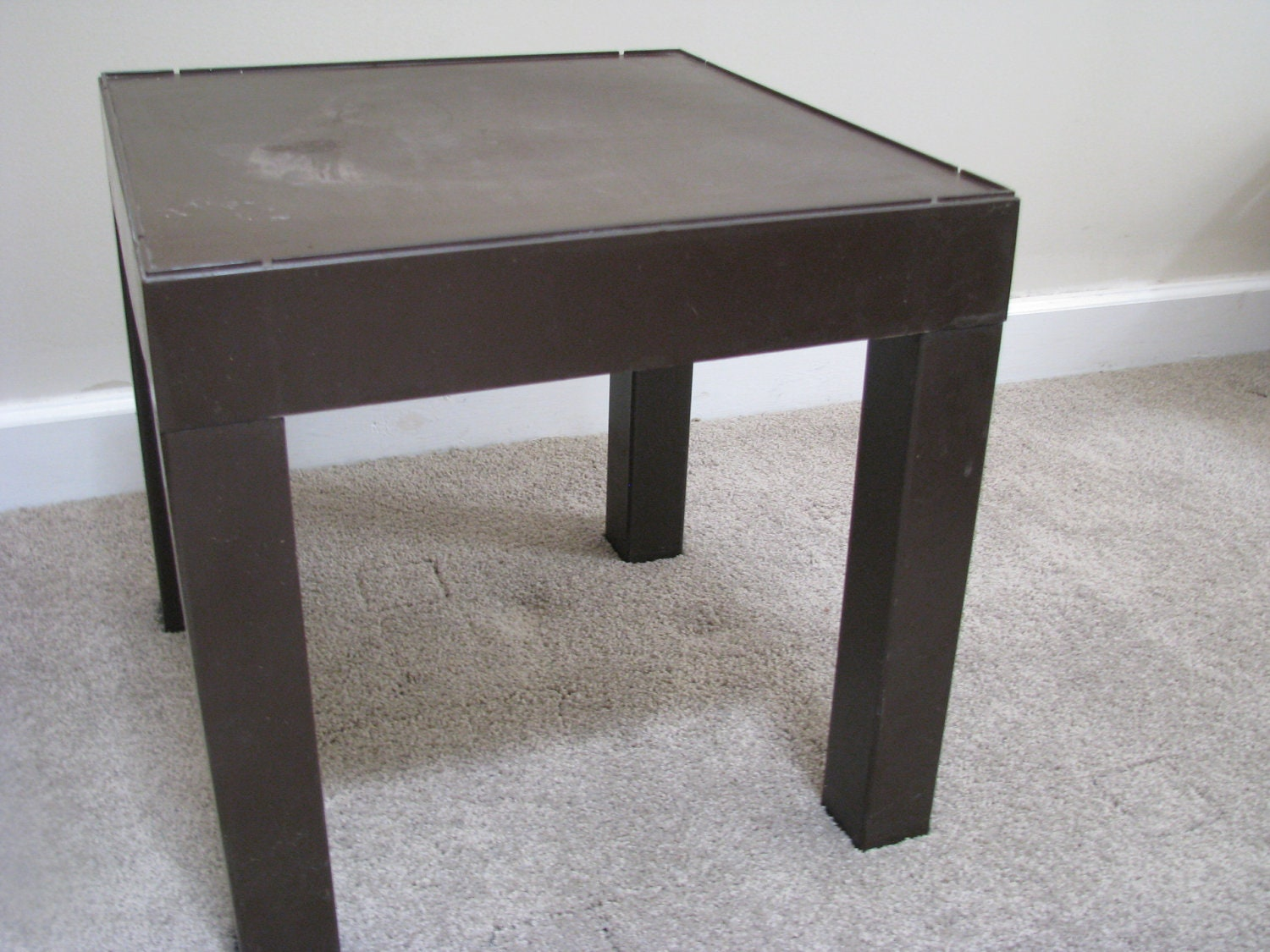 Small Square Accent Table: Vintage Square Brown Plastic Parson Small End Table Cube