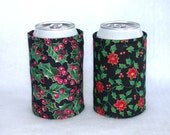 Christmas Print Can Koozie / Beer Coozie Handmade Cozy - Set of 2