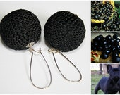 Black olives - hand crocheted earrings made of over-sized crocheted beads in black