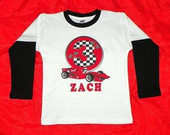Boys Birthday Shirt. Long Sleeves Race Car Shirt Personalized.  Checkered Flags Number Birthday Shirt. Race Car Birthday Party