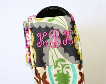 Monogramming included Wide Camera Strap for DSL camera Navy, Fushia, Turquoise, and Lime Paisley with lens cap pocket