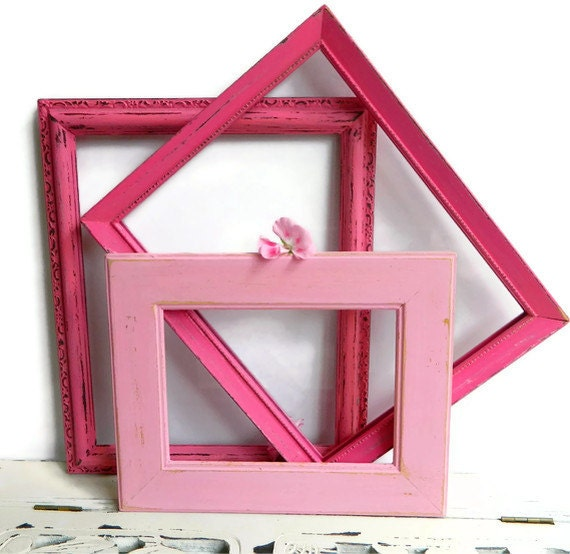 Pretty in Pink Collection of 3 Picture Frames Shabby Chic Home Decor &  Baby Girl Nursery Wall Decoration