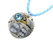Steampunk 1933 Waltham Pocket Watch Blue Leather Necklace