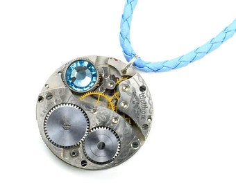 Steampunk 1933 Waltham Pocket Watch Blue Leather Necklace