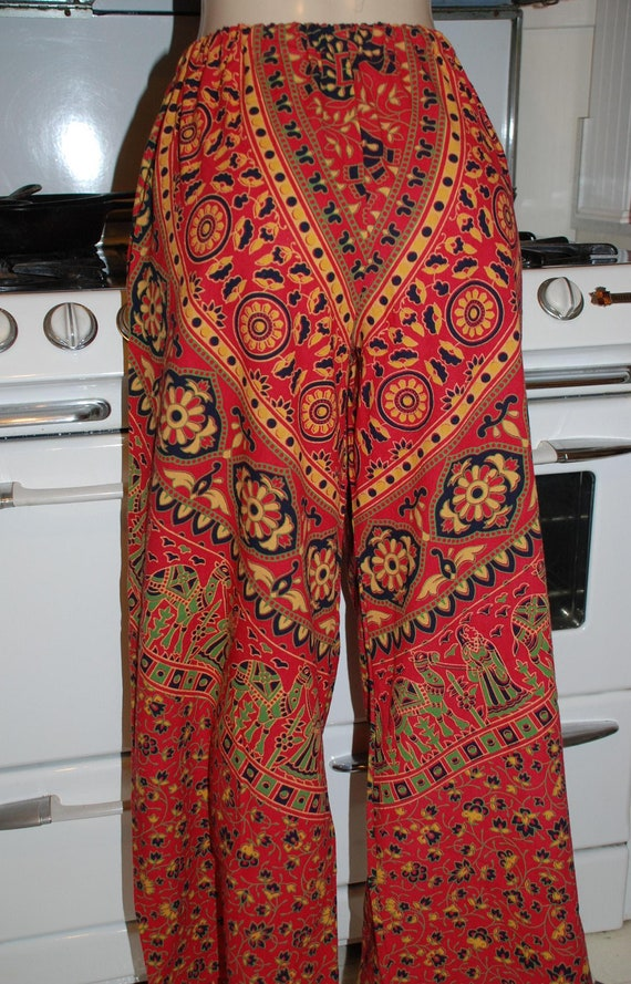 """Hippie Pants - 70s  East Indian fabric - Sanganeer  RED Gold  design - 39"""" Long-  Read Measurements"""