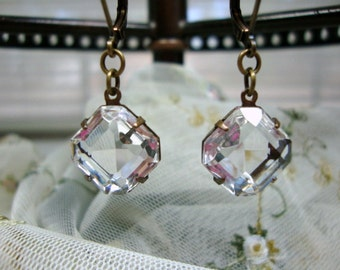 Estate Style Vintage Square Cut Clear Crystal Earrings Bridal Earrings Old Hollywood Sparkle Wedding Jewelry