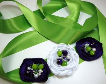 Lime Green and Purple Floral Bridal Sash Prom Wedding Accessories