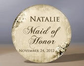 Pocket Mirror - Maid of Honor Elegant Vintage Look 3.5 inch Pocket Mirror with Gift Bag - Weddings - Maid of Honor Gift
